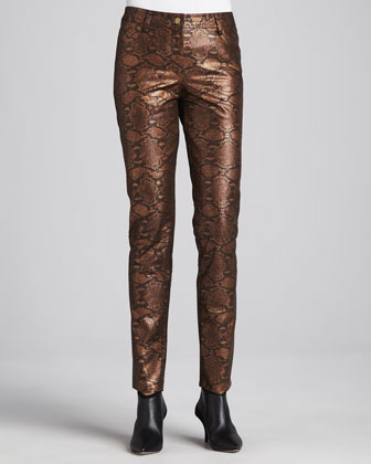 Copper Reptile-Print Pants