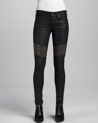 Beaded Phantom Coated Denim Pants