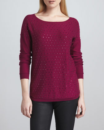 Crystal-Front Boat-Neck Sweater