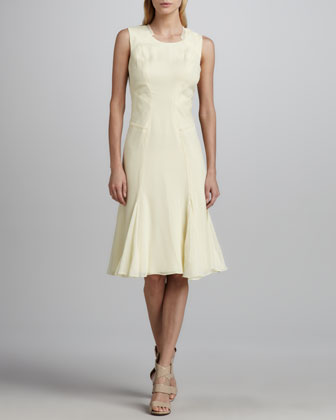 Sleeveless Pintucked Chiffon Dress