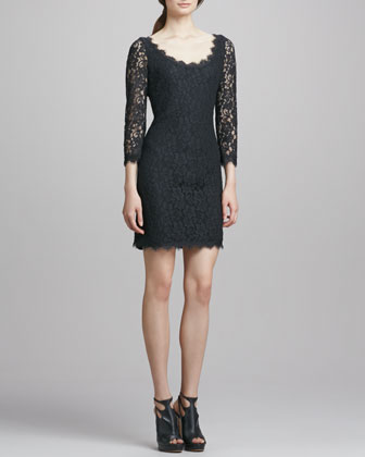 Zarita Scoop-Neck Short Lace Dress, Black