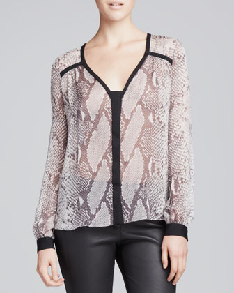 Lane Snake-Print Blouse