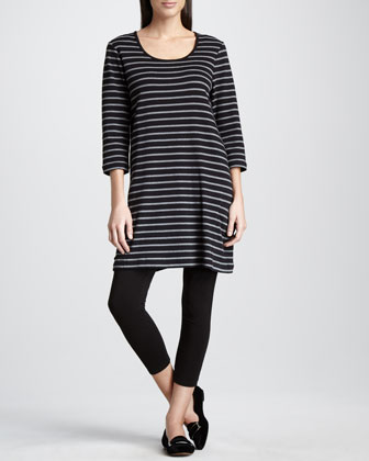 Striped Knit Tunic & Stretch Leggings, Petite