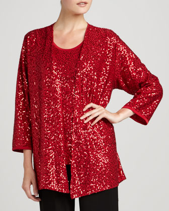 Sequined Jacket, Tank & Knit Straight-Leg Pants, Petite