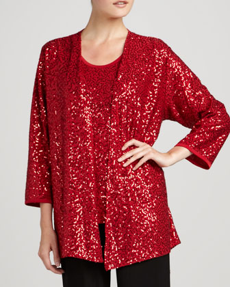 Sequined Jacket, Tank & Knit Straight-Leg Pants