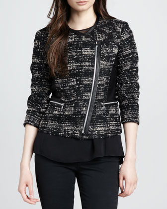 Leather-Panel Tweed Jacket