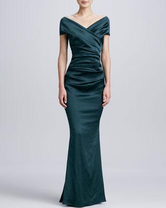 Ruched Cap-Sleeve Mermaid Gown
