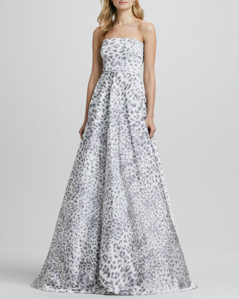 Malene Leopard Strapless Ball Gown
