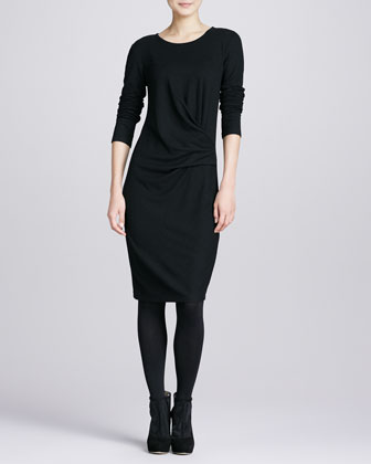 Wool-Stretch Faux-Wrap Dress