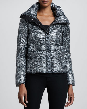 Tweed Bomber Puffer Coat