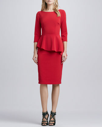 Asymmetric-Peplum Crepe Dress