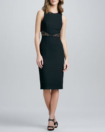 Crepe Dress with Lace Waist