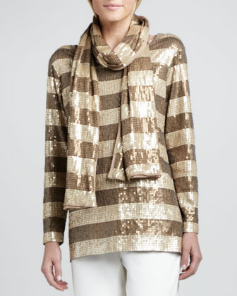 Striped Sequined Tunic, Scarf & Ponte Boot-Cut Pants