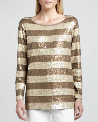 Long-Sleeve Striped Sequined Tunic, Petite