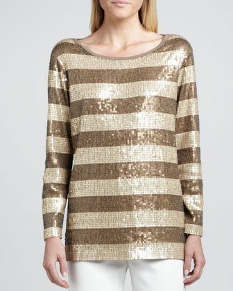 Long-Sleeve Striped Sequined Tunic, Women's