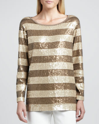 Long-Sleeve Striped Sequined Tunic