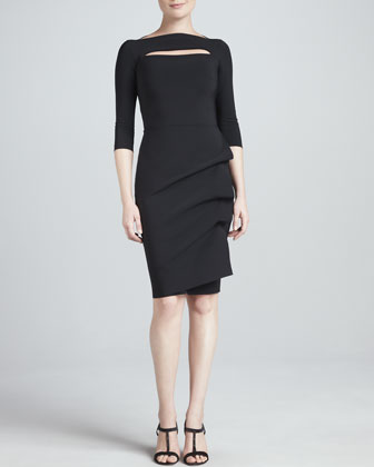 Kate 3/4-Sleeve Boat-Neck Cocktail Dress with Keyhole