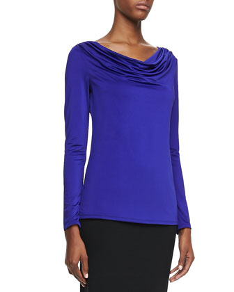 Jersey Cowl-Neck Top, Purple Lily