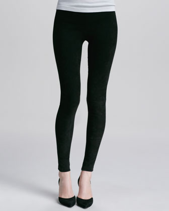 Suede Leggings, Black
