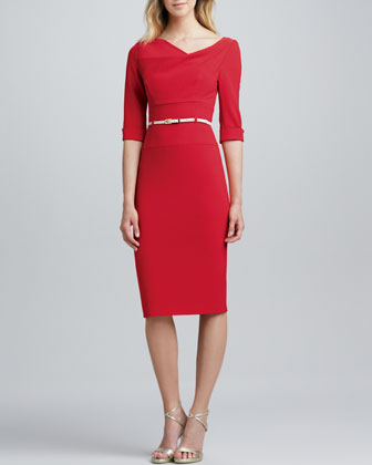 Jackie Belted Sheath Dress, Red
