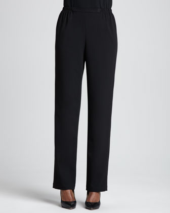 Stretch-Gabardine Travel Pants, Petite