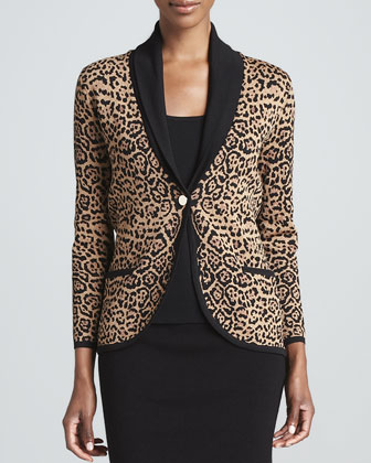 Cheetah-Print One-Button Jacket
