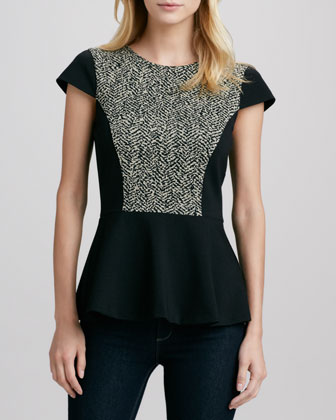 Bara Herringbone-Panel Peplum Top