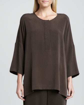 Silk Dolman-Sleeve Easy Tunic & Full-Leg Silk Pants