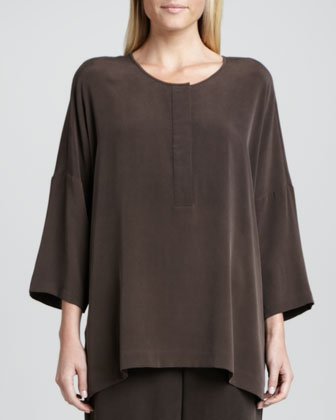 Silk Dolman-Sleeve Easy Tunic, Petite