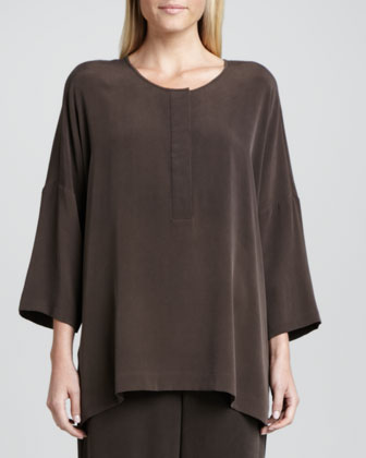 Silk Dolman-Sleeve Easy Tunic, Women's