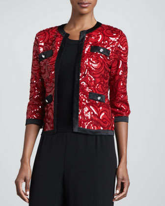 Swirl-Sequined Cardigan with Trim & Solid Scoop-Neck Shell, Petite