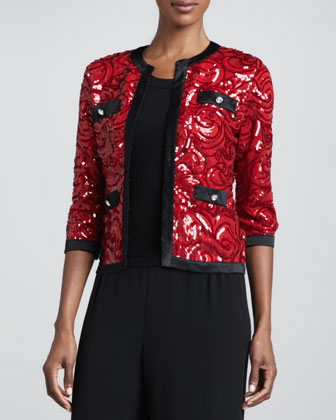 Swirl-Sequined Cardigan with Trim & Solid Scoop-Neck Shell