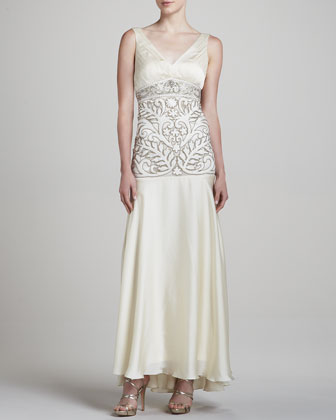 V-Neck Sleeveless Embellished Gown