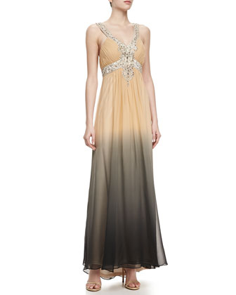 Draped Beaded Bodice Gown. Beige/Black