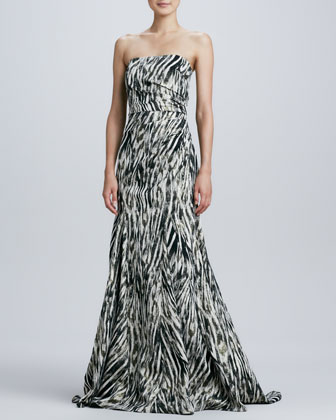 Strapless Animal-Print Trumpet Gown