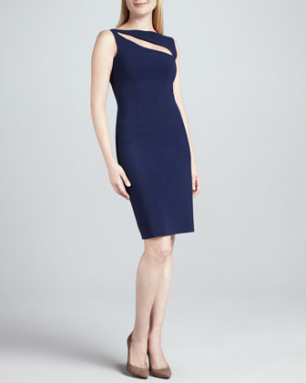 Quinzia Boat-Neck Keyhole Cocktail Dress