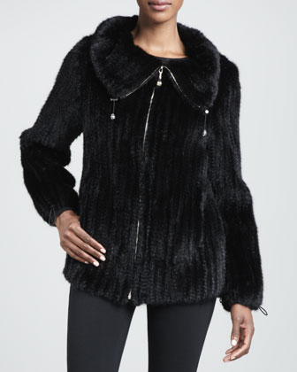 Knitted Mink Fur Jacket, Black
