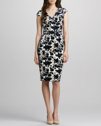 Dayton Floral-Jacquard Dress