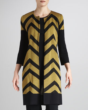 Chevron-Stripe Long Jacket, Women's