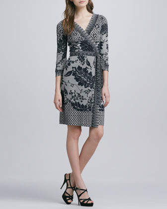Inari Flutter Lace-Print Silk Wrap Dress