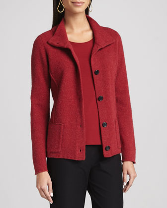 Wool Button-Front Jacket, Petite