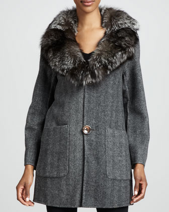 Herringbone Fox-Collar Coat