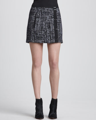 Snap-Front Tweed Skirt