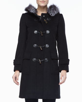 Cashmere Toggle Coat with Fur Trim