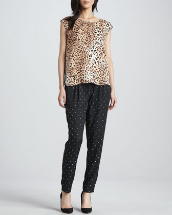 Sayla Metallic Square-Print Pants