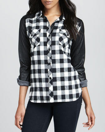 Leather-Sleeve Plaid Shirt