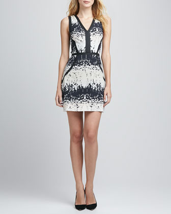 Printed Leather-Trim Dress