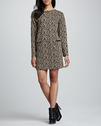 Leopard-Print Knit Dress