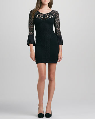 City Girl Fitted Lace-Inset Dress