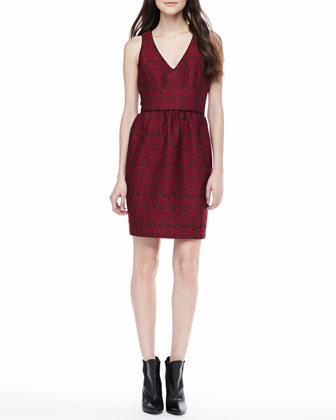 Sleeveless Lace Jacquard Dress